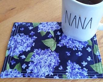 Teacher Gift Quilted Flower Coaster Whimsical Coffee Gift Fabric Mug Mat /& Snack Mat Double-Sided Mug Rug Tea Gift