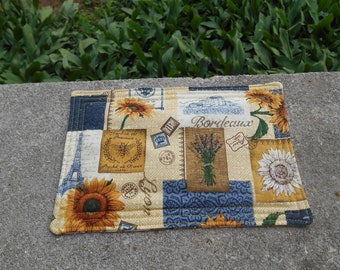 Sunflower Mug Rug - French Mug Rug - Snack Mat - Country French Mug Rug - Blue and Yellow French Mug Rug
