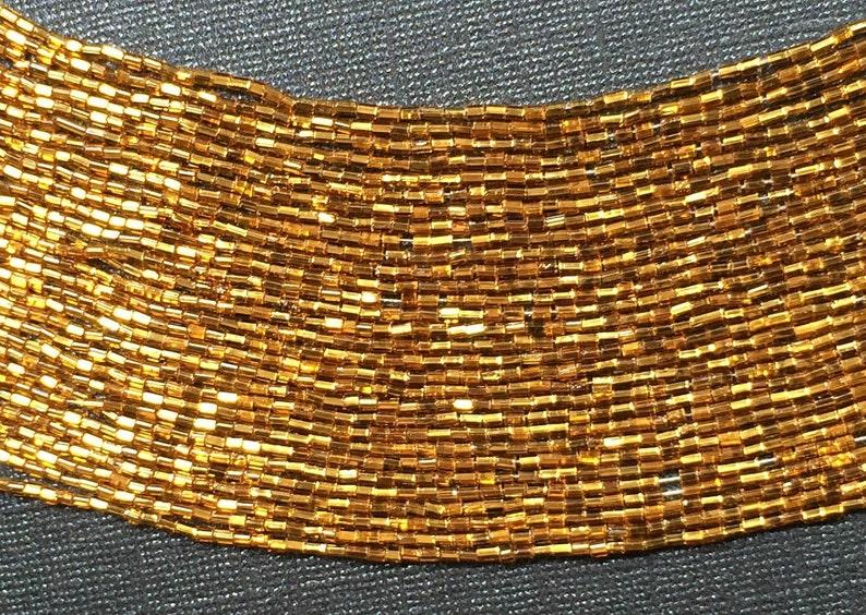 1 Master Hank (7 Hanks, app  140 Strands) Vintage Faceted Gold Czech Glass  Maco Short Bugle Tube Beads 2-3mm x 2mm