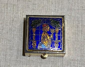 Vintage Enamel Cloisonné Topped Pill Box With Figure