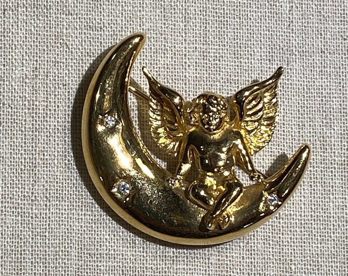 Signed Givenchy Rhinestone Angel On Moon Brooch
