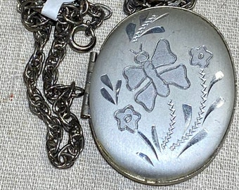 Vintage Silver Tone Oval Locket With Butterfly on a Chain
