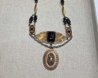Victorian Repurposed Assemblage Necklace Snake Pendant