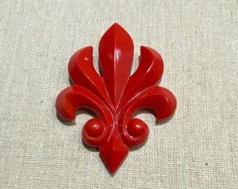 1930s Fleur De Lis Red Dress Clip