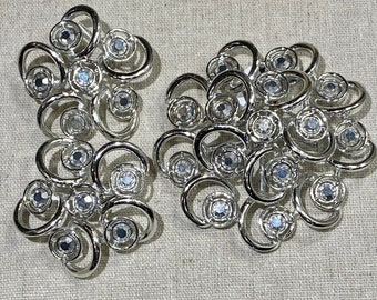 Large Signed Sarah Coventry Rhinestone Brooch and Clip Ons Set