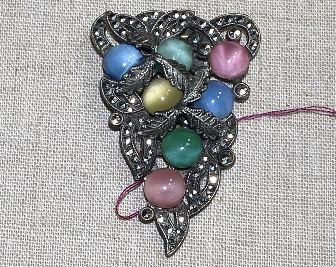 1930s Pastel Stone Dress Clip With Marcasites