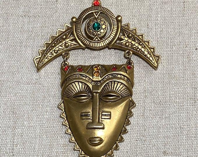 Signed Avon Mask Art Gold Tone Brooch