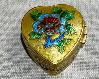 Petite Chinese Enamel Cloisonné Hinged Heart Box