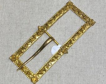 Victorian Large Gilded Metal Belt Sash Buckle