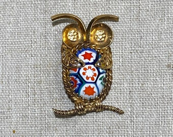 Gold Filled Owl With Italian Murano Glass Belly Brooch Pendant