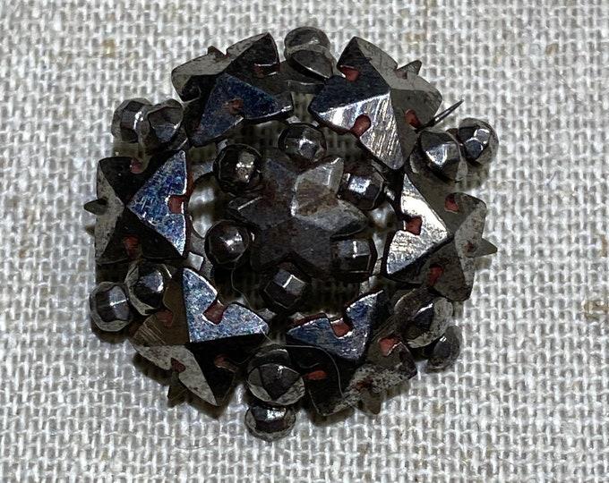 Antique Victorian  Cut Steel Brooch Pin