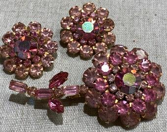 Signed Judy Lee Pink Rhinestone Flower Brooch Clip On Earring Set