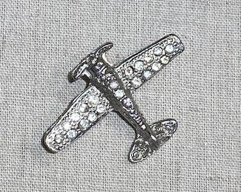 Vintage Clear Rhinestone Figural Airplane Brooch