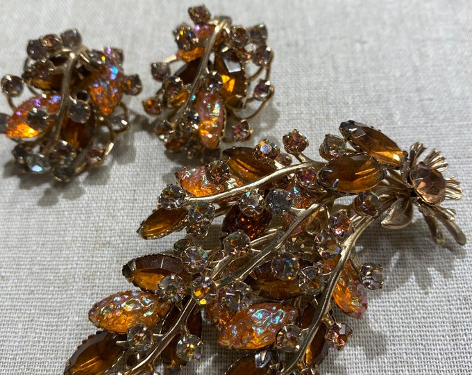Prong Set Rhinestone Brooch and Clip-On Earring Set