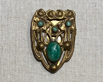 1930s Victorian Revival Dress Clip With Cabachon Stones