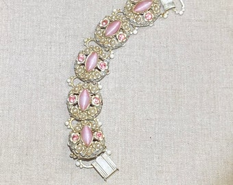 Pink Rhinestone and Faux Pearl Unsigned Seven Inch Long Bracelet