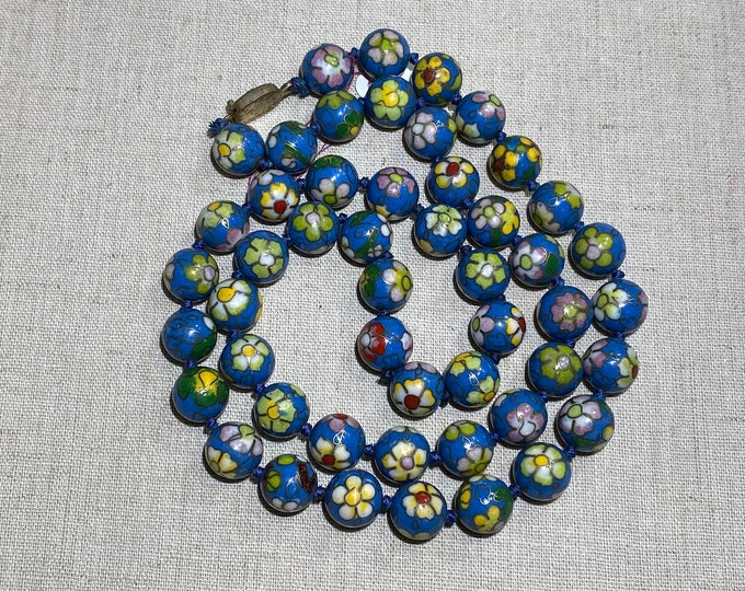 Chinese Cloisonné 28 Inch Strand Bead Necklace