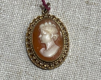 Petite Gold Filled Hand Carved Shell Cameo Pendant