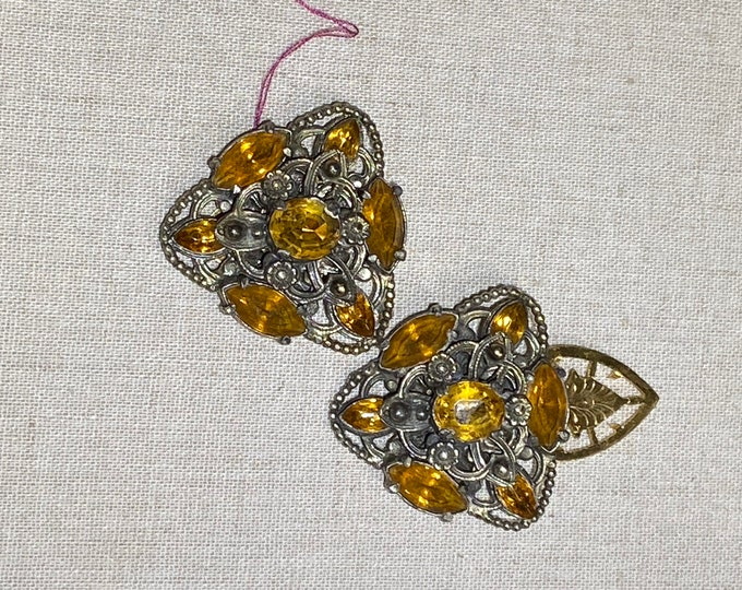 Matched Pair of Rhinestone Dress Clips