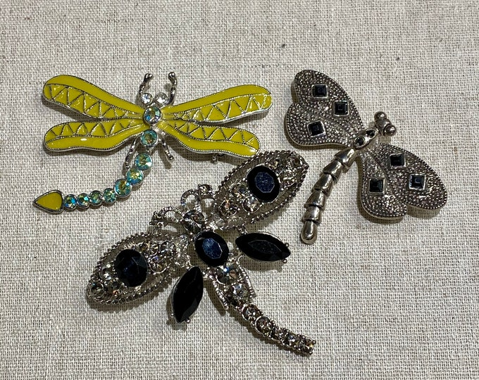 Three Unmarked Dragonfly Brooches