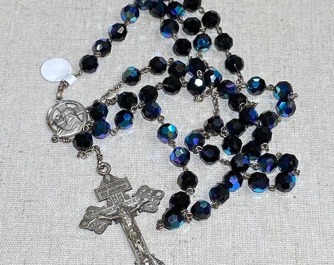 Sterling Aurora Borealis Crystal Five Decade Rosary