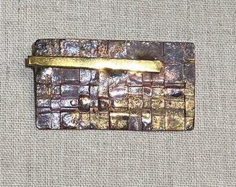 Brutalist Woven Type Pattern Brooch