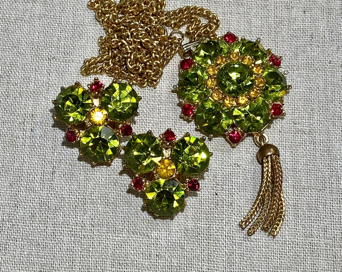 Signed Rhinestone Pendant and Clip On Earrings Set