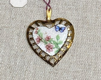 Delicate Vintage Enamel Heart Pendant With Butterfly and Flowers