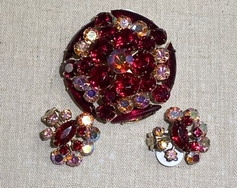Vintage Red Rhinestone Brooch and Clip On Earring Set