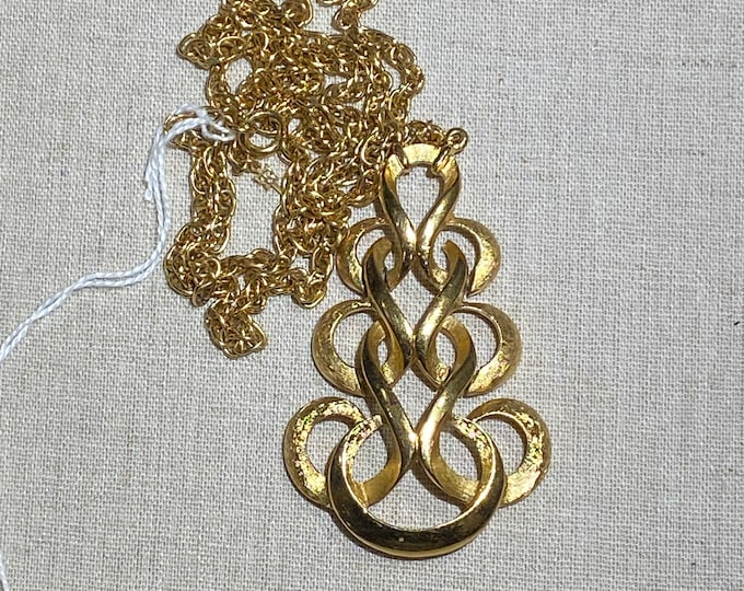 Crown Trifari Signed Brushed Gold Tone Pendant on Chain