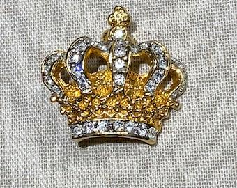 Modern Petite Rhinestone Crown Shaped Brooch