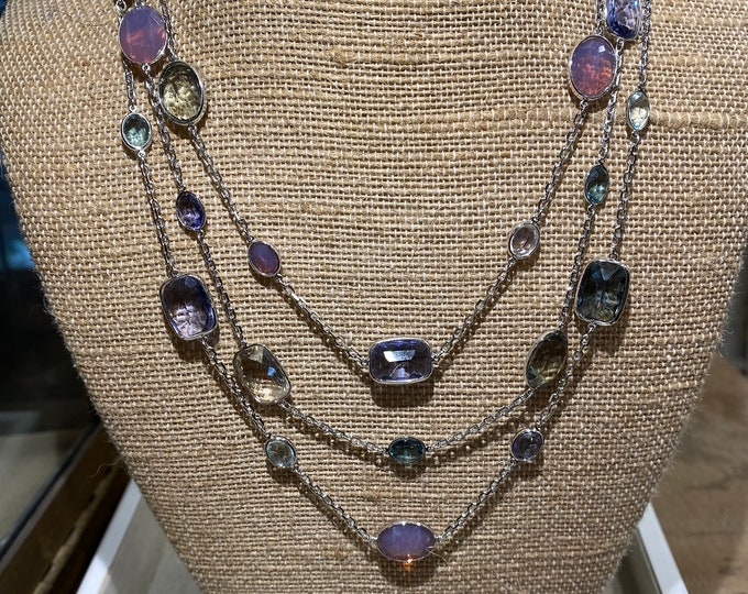 Signed Swan Swarovski Multi Strand Crystal Necklace
