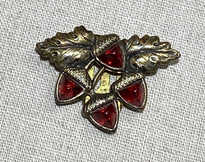 Very Small Dress Clip With Red Acorns and Leaves