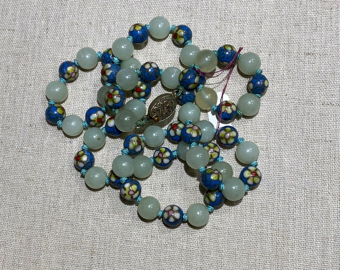 Jadeite and Cloisonné Individually Knotted Beads Necklace