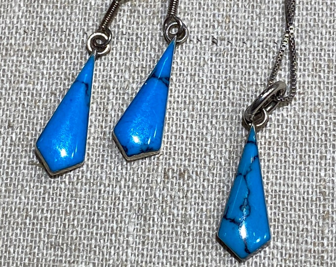 Turquoise and Sterling Silver Pierced Earrings and Pendant Set