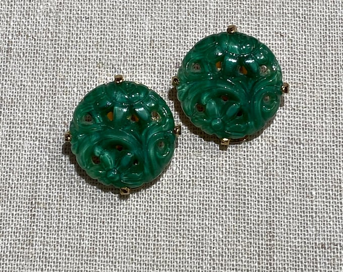 Vintage Newhouse Molded Glass Clip On Earrings