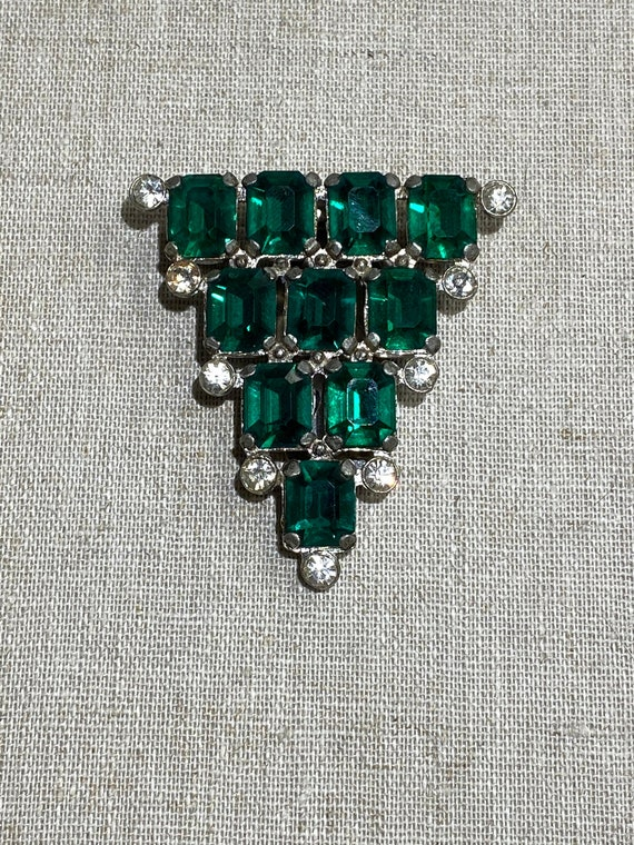 1930s Art Deco Rhinestone Dress Clip Brooch