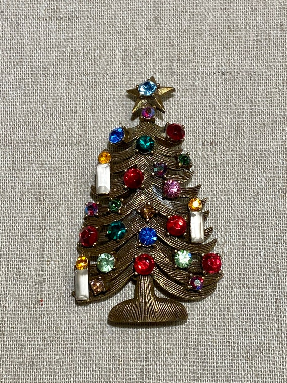 Snowman and Gingerbread 1.75 x 2.25 Vintage Christmas Tree Brooch Pin With 3 Charms Cane