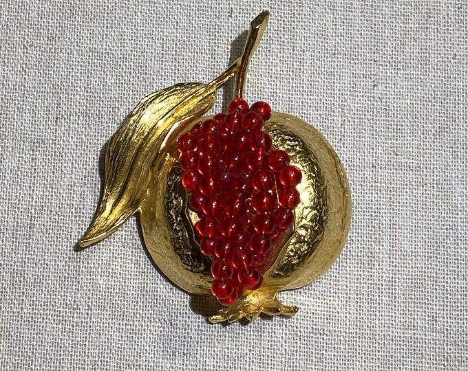 Signed Brania Figural Pomegranate Brooch With Red Beaded Seeds
