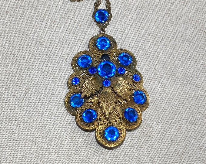 Vintage Art Deco Blue Pendant Necklace With Replaced Stone