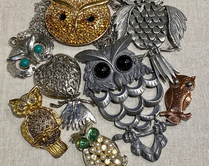 Owl Lot of 7 Items: 3 Necklaces, 3 Brooches, 1 Pendant