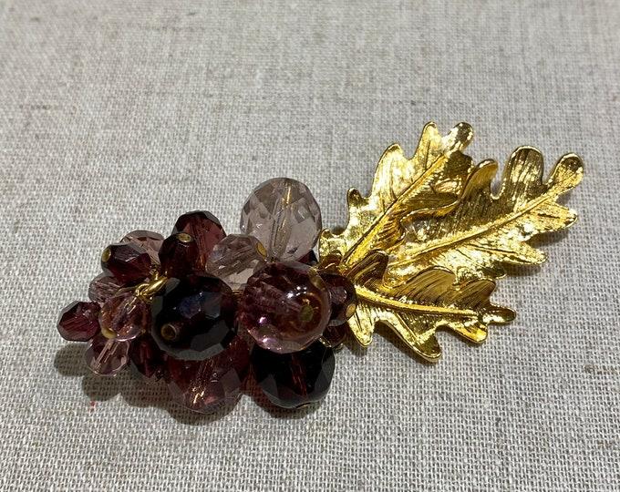 Signed Carolee Crystal Bead Grape Cluster Brooch