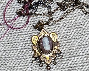 Antique Victorian Hard Stone Cameo Pendant on Chain