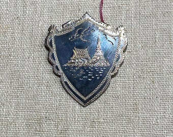 Sterling Silver Made in Siam Architectural Badge Brooch