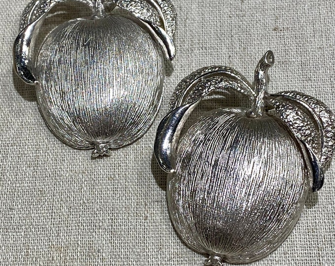 Large Pair of Signed Sarah Coventry Pomegranates With Leaves Brooches