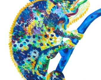 Chameleon Painting (11×14) by Kelsey Rowland- colorful lizard painting chameleon art multicolored blue green yellow gold orange pink purple