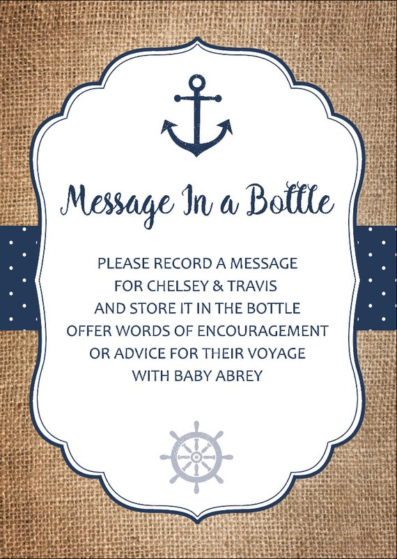 Message In A Bottle Baby Shower Card Nautical Advice Cards Etsy