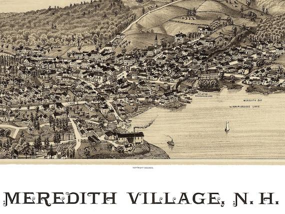 24x36 Bird/'s Eye View 1889 Meredith Village NH Vintage Style City Map