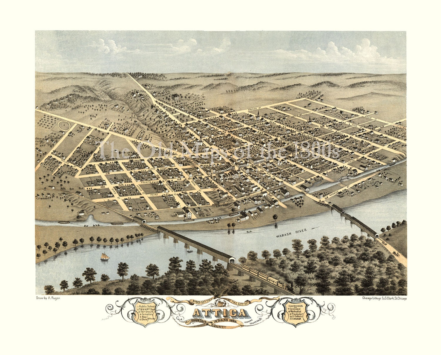 Attica, Indiana in 1869 - Bird's Eye View Map, Aerial Map, Panorama,  Vintage map, Antique map, Reproduction, Giclée, Framable map, Fine Art