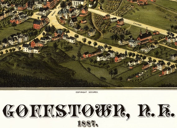 20x28 Bird/'s Eye View 1887 Goffstown NH Vintage Style City Map